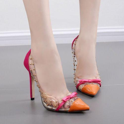 Women Shoes Plus Size Summer Fashion Transparent Rivet Bow Pointed Toe 11cm High Heels Ladies Party Female Pumps Shoes 35-41